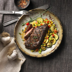 Peppery-spiced Steak with Southwestern Ontario Summer Sauté